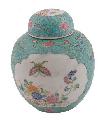 Nineteenth century famille rose ginger jar and cover