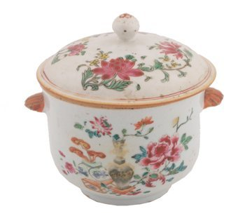 Eighteenth century Chinese famille rose urn and cover