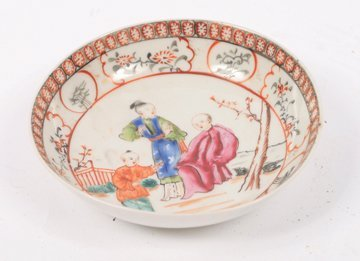 Eighteenth century Chinese famille rose deep saucer