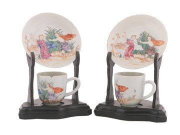 Pair of Eighteenth century Chinese famille rose cups an