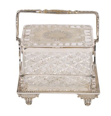 Nineteenth-century silver plated and crystal biscuit bo