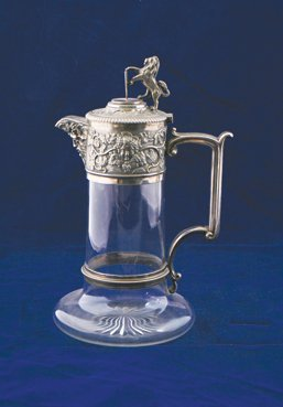 Nineteenth-century Sheffield plated and crystal claret