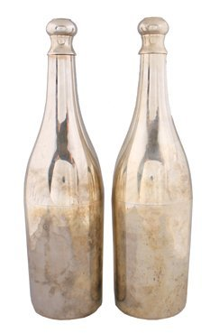 Pair of unusual silver plated bottle shaped wine cooler