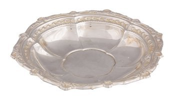 Silver plated embossed strawberry dish