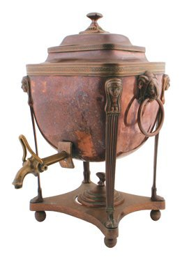 Regency copper tea urn