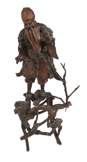 Two nineteenth-century Oriental twig art figures