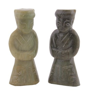 Two Qing period jade pendant figures