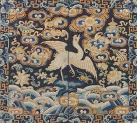 Chinese Qing period civil official's kesi  silk embroid