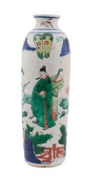 Mid-seventeenth century Chinese wucai sleeve vase