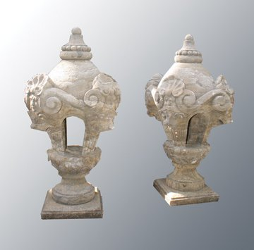 Pair of estate stone carved urns