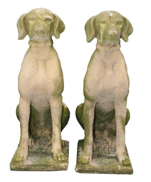 Pair of reconstituted stone seated dogs