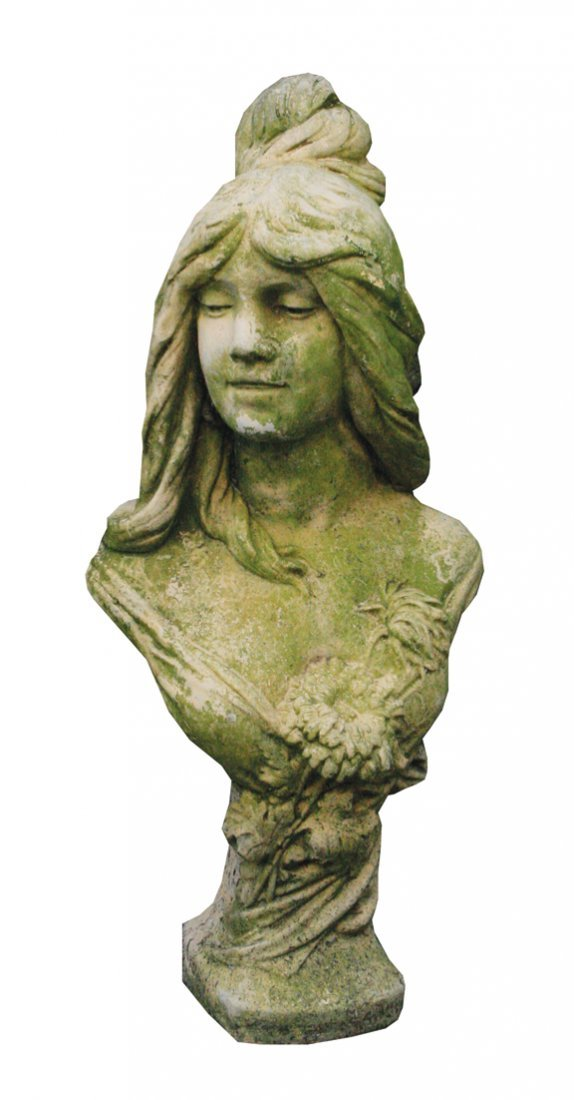 Reconstituted stone bust of a young woman