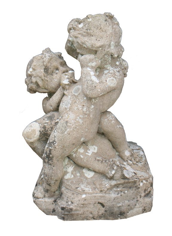 Nineteenth-century carved stone sculpture of two cherub