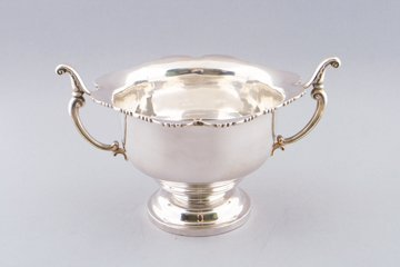 Large Irish silver two handled bowl