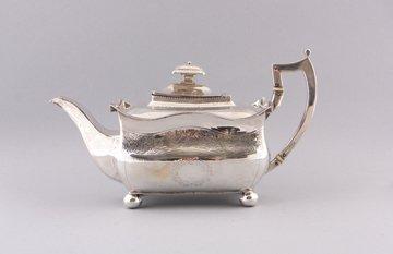 Silver pagoda shaped tea pot