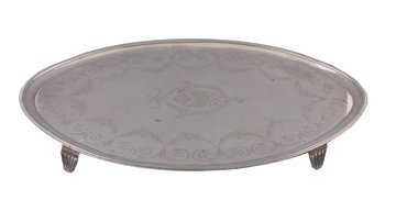 Oval silver armorial tray