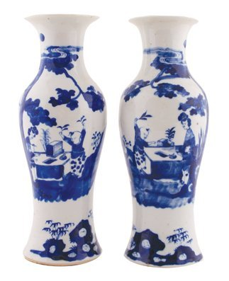 Pair of Chinese Qing period blue and white vases