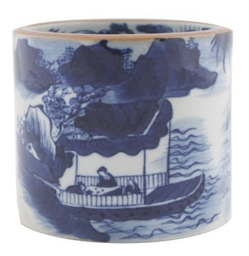 Chinese Qing period blue and white brush pot