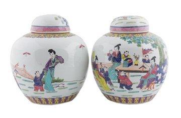 Pair of Chinese famille rose Imperial enamel figured li