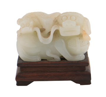 Qing period pale celadon jade  carving