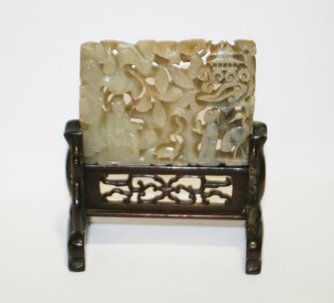 Ming period celadon jade panel