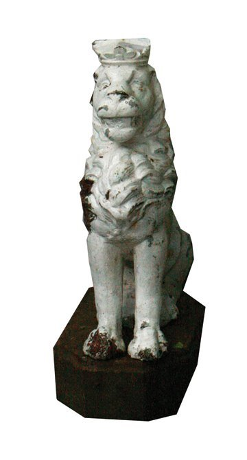 Pair of nineteenth-century cast iron armorial lions,