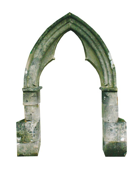Eighteenth-century Gothic cut stone arch way,