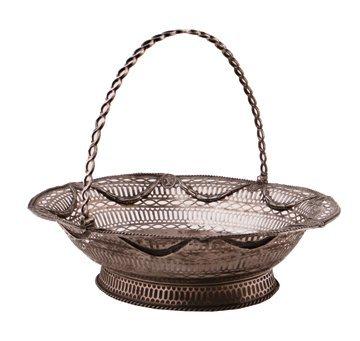 Silver swing handled pierced oval basket,
