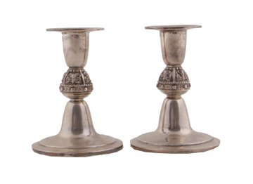 Pair of silver candlesticks,