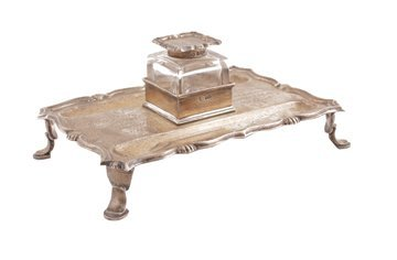 Silver pen and ink stand,