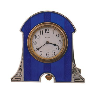 Art Nouveau silver and enamelled travel clock in