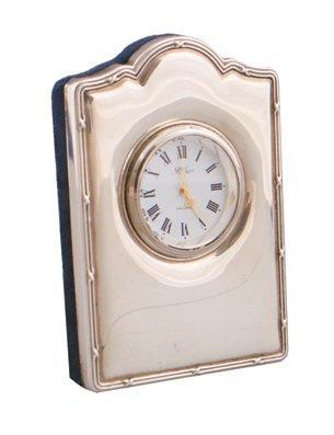 Silver framed clock,
