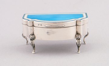 Silver and enamelled jewellery case,