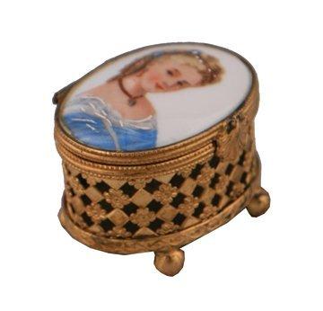 Limoges gilt and porcelain box,