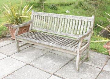 Pair of wooden garden benches
