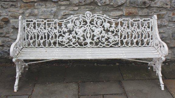 Pair of nineenth-century cast iron garden benches