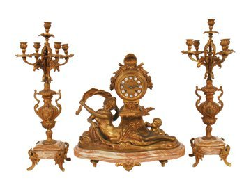Art Nouveau French gilt bronze garniture
