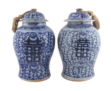 Large matched pair of Chinese Qing period blue and