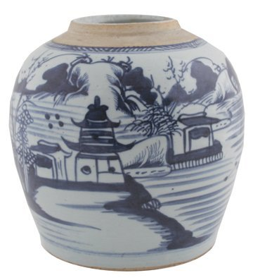 Chinese Qing period blue and white ginger jar,
