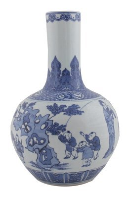 Chinese Qing period blue and white bottle vase