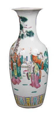 Large Chinese famille rose and polychrome vase,