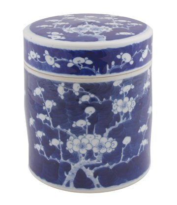 Chinese Qing period blue and white cylindrical jar and