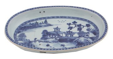 Chinese eighteenth-century blue and white oval shaped