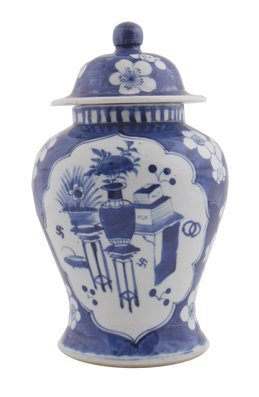 Chinese Qing period blue and white urn and domed cover,
