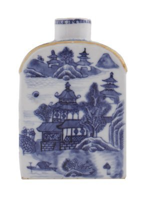 Chinese Qing period blue and white caddy