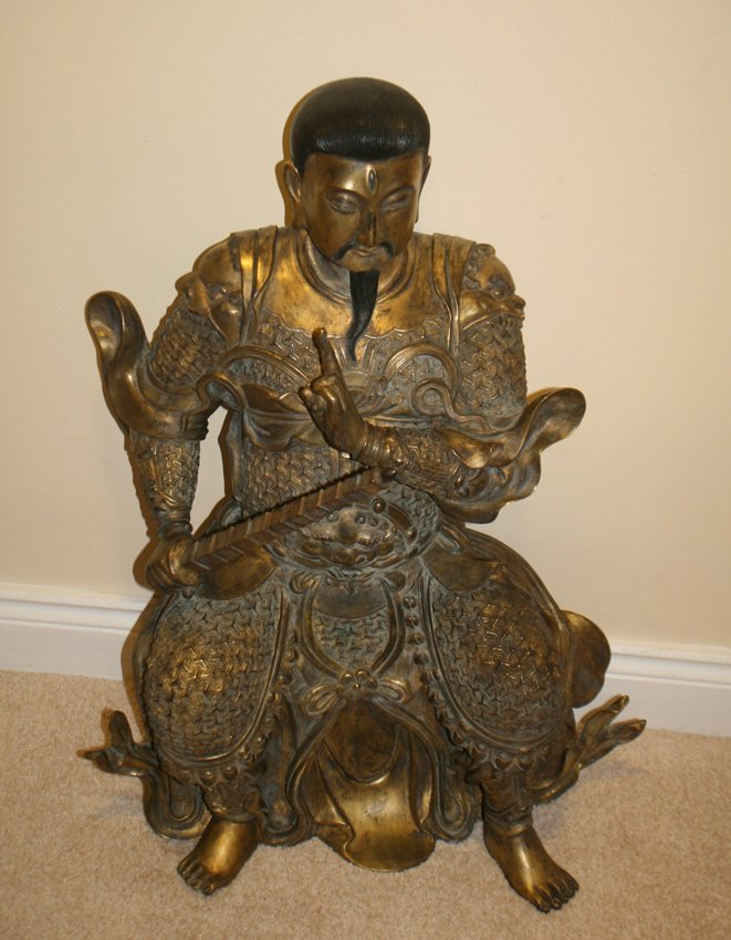Large Qing period gilt bronze warlord