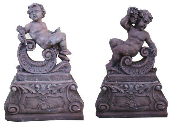Pair reconstituted stone cherubs