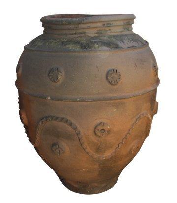 Pair large 19th century Portuguese terracotta urns