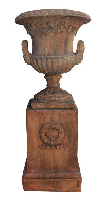 Pair terracotta garden urns
