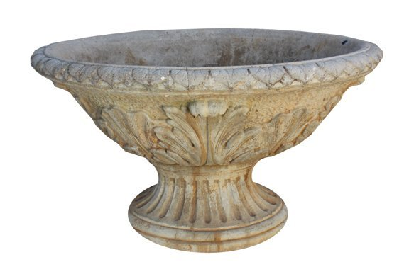Antique reconstituted stone oval shaped jardinière